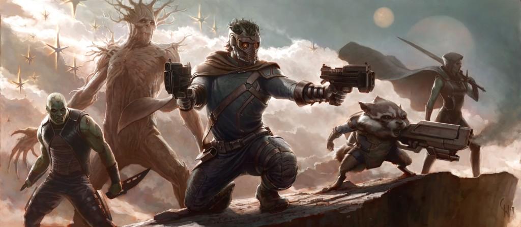 Fra venstre: Drax the Destroyer, Groot, Star Lord, Rocket Racoon og Gamora.