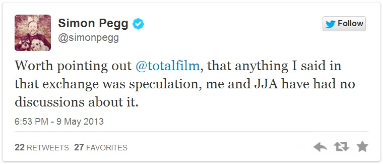 Simon Pegg disclaimer-tweet